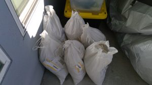 Bags of basalt gravel